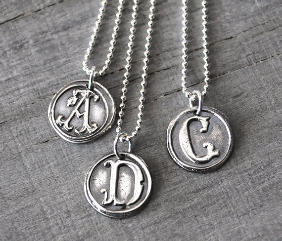 Personalized Wax Seal Initial Necklace -   Handcrafted - Prairie Coast Art