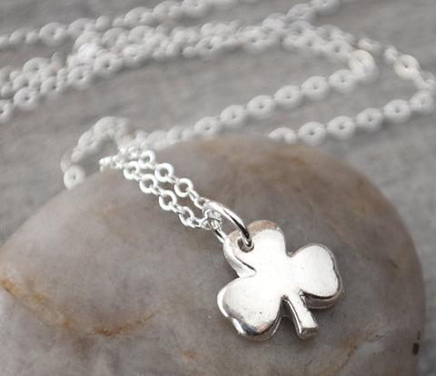 Silver Shamrock Necklace with Sterling Silver Chain - St. Patrick's Day Jewelry - Prairie Coast Art