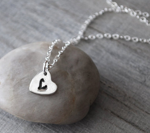 Personalized Initial Charm Heart Necklace - Sterling Silver Chain - Prairie Coast Art
