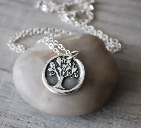 Silver Tree of Life Necklace -  Sterling Silver Chain - Prairie Coast Art