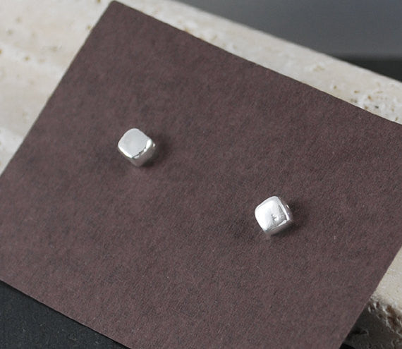 Square Stud Earrings - Titanium Post Earrings - Prairie Coast Art