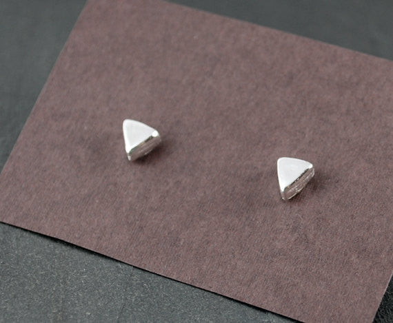 Triangle Stud Earrings - Sterling Silver Post Earrings - Prairie Coast Art