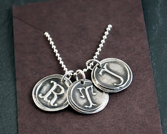 Personalized Silver Wax Seal Initials on a Sterling Silver Ball Chain - 3 Customized Letters - Prairie Coast Art