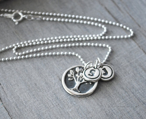 Silver Tree of Life Necklace with Two Initial Letters -  Sterling Silver Chain - Prairie Coast Art