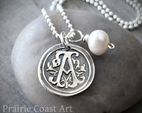 Personalized Wax Seal Initial Necklace -  Sterling Silver Monogram - Prairie Coast Art