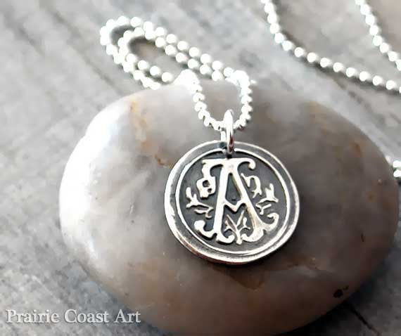 Personalized Wax Seal Initial Necklace - Custom Sterling Silver Letter - Prairie Coast Art