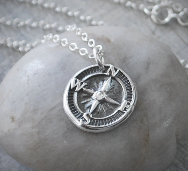 Sterling Silver Compass Rose Necklace - Sterling Silver Chain - Prairie Coast Art