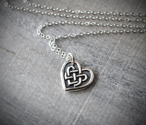 Silver Celtic Heart Necklace - Celtic Knot Heart Pendant - Sterling Silver Chain - Prairie Coast Art