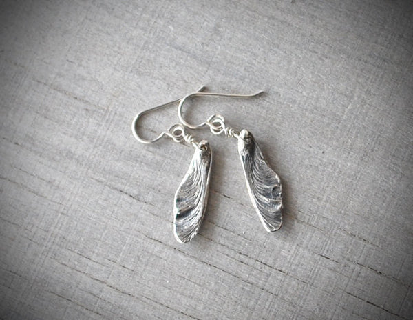 Silver Maple Seed Pod Earrings - Sterling Silver Ear Wires - Prairie Coast Art