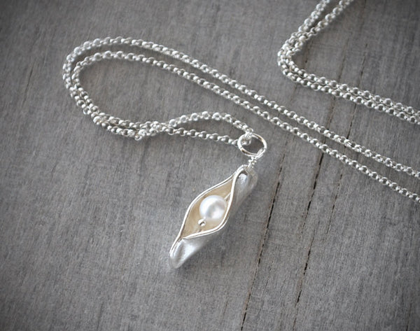 Pearl Pea Pod Necklace - Sterling Silver Mother's Necklace - Prairie Coast Art