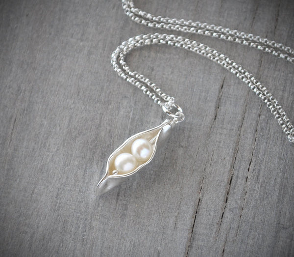 Silver Pea Pod Mother's Necklace -  Two Pearl Peas Push Gift