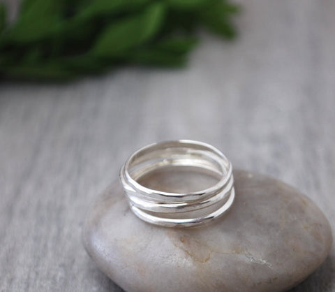 Set of 3 Sterling Silver Stacking Rings - Handcrafted - Prairie Coast Art