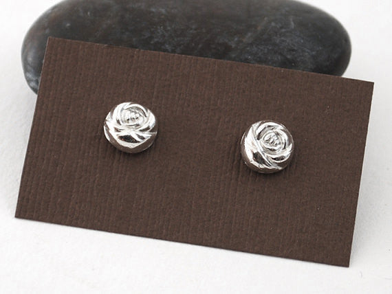 Silver Rose Earrings - Titanium Stud Earrings - Prairie Coast Art