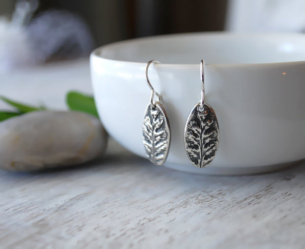 Silver Fern Leaf Earrings with Sterling Silver Ear Wires - Prairie Coast Art