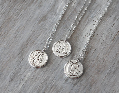 Personalized Initial Necklace -  Custom Wax Seal with Sterling Silver Chain - Prairie Coast Art