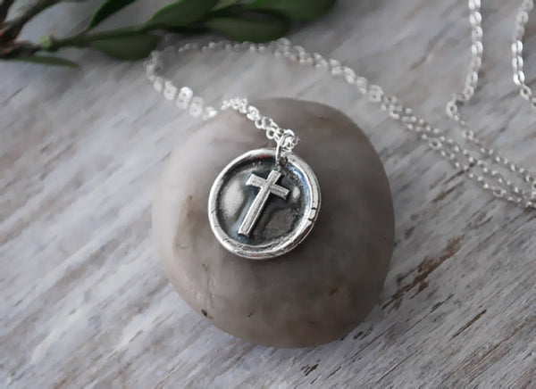 Wax Seal Cross Necklace -  Sterling Silver Chain - Prairie Coast Art