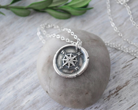 Wax Seal Compass Rose Necklace - Handcrafted Sterling Silver - Prairie Coast Art