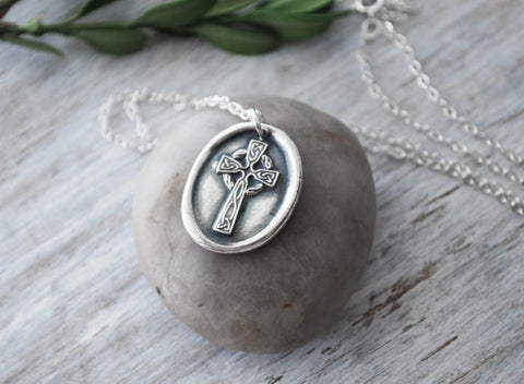 Wax Seal Celtic Cross Necklace -  Sterling Silver Chain - Prairie Coast Art