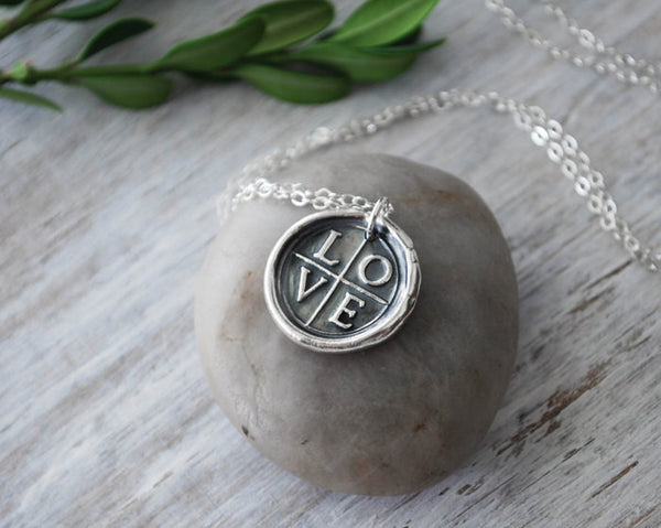 Wax Seal  LOVE Cross Necklace -  Sterling Silver Chain - Prairie Coast Art