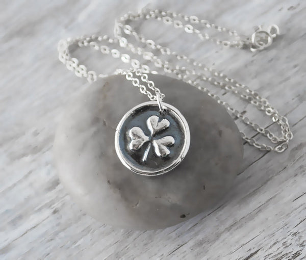 Wax Seal Shamrock Necklace -  Sterling Silver Chain  - St. Patrick's Day Jewelry