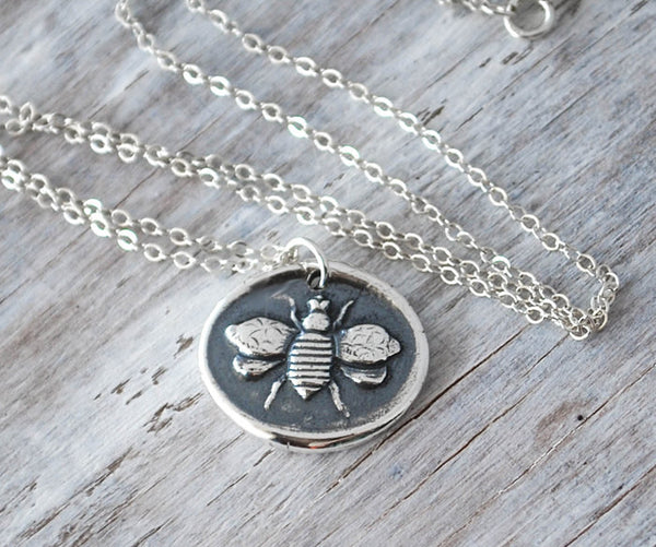 Honey Bee Wax Seal Pendant - Sterling Silver Handcrafted - Prairie Coast Art
