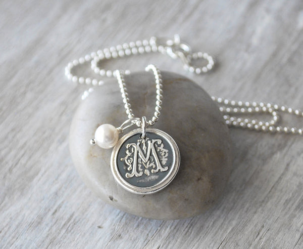 Personalized Wax Seal Initial Necklace - Sterling Silver Chain - Prairie Coast Art