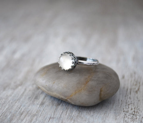 Moonstone Gemstone Ring with Crown Bezel - Handcrafted Sterling Silver - Prairie Coast Art