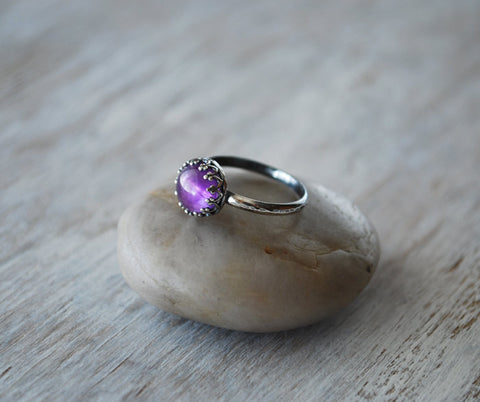 Amethyst Ring Sterling Silver - Handcrafted - Crown Bezel - Prairie Coast Art