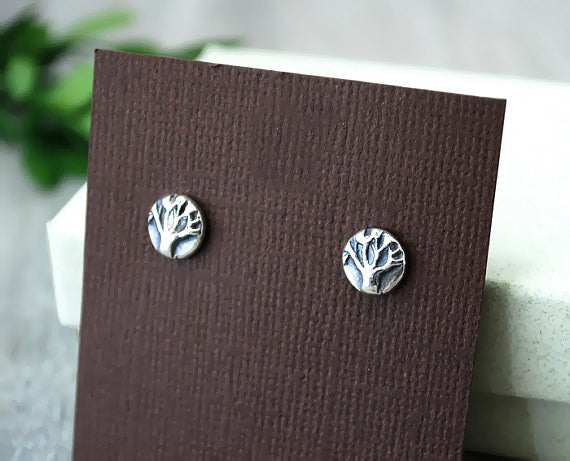 Sterling Silver Tiny Tree of Life Earrings - Handcrafted Sterling Post - Prairie Coast Art