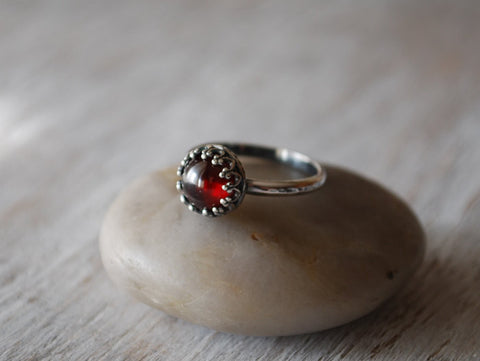 Garnet Ring in Sterling Silver - Handcrafted - Prairie Coast Art