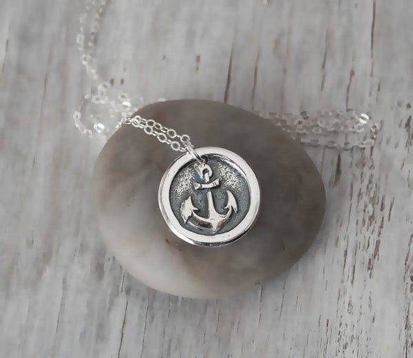 Wax Seal Anchor Necklace - Nautical Pendant with Sterling Silver Chain - Prairie Coast Art