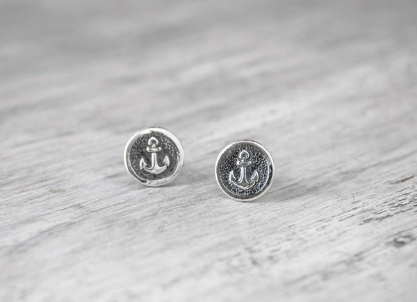 Sterling Silver Nautical Anchor Stud Earrings - Sterling Silver Post - Prairie Coast Art