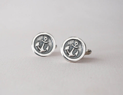 Anchor Cufflinks -  Sterling Silver Nautical CuffLinks - Wax Seal Cufflinks - Prairie Coast Art