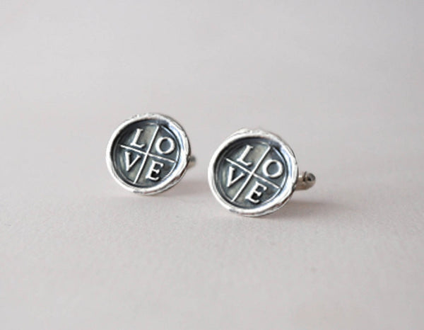 Love Sterling Silver CuffLinks - Wax Seal Cuff Links - Prairie Coast Art