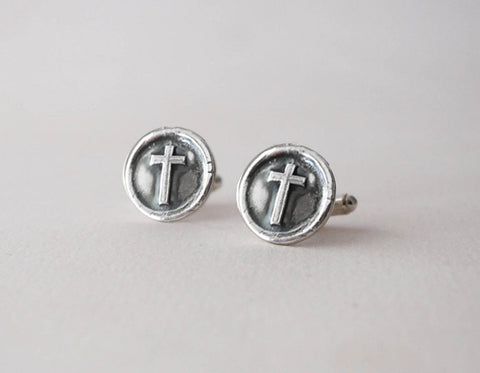 Wax Seal Cross Cufflinks -  Sterling Silver Cuff Links -  Inspirational Wedding - Prairie Coast Art