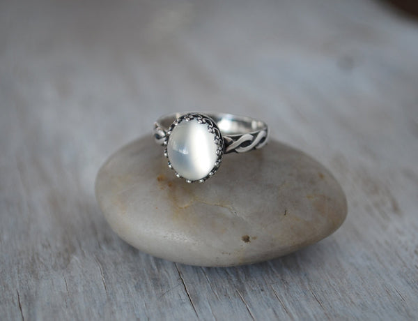 Oval Moonstone Ring in Sterling Silver