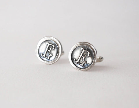 Wax Seal Personalized Cufflinks - Monogram Mens Sterling Silver Cuff Links - Prairie Coast Art