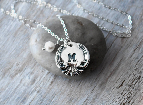 Personalized Vintage Spoon Initial Necklace - Sterling Silver Chain - Moms Necklace - Prairie Coast Art