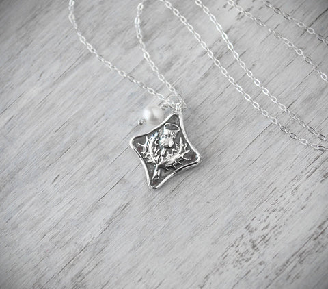 Scottish Thistle Necklace -with  Sterling Silver Chain - Prairie Coast Art