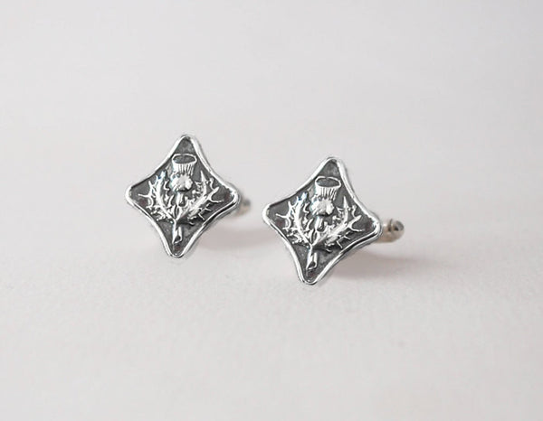 Scottish Thistle Cuff Links -  Sterling Silver CuffLinks - Prairie Coast Art