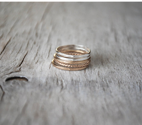 Set of 5 Gold and Silver Stacking Ring Set -  Handcrafted - Prairie Coast Art