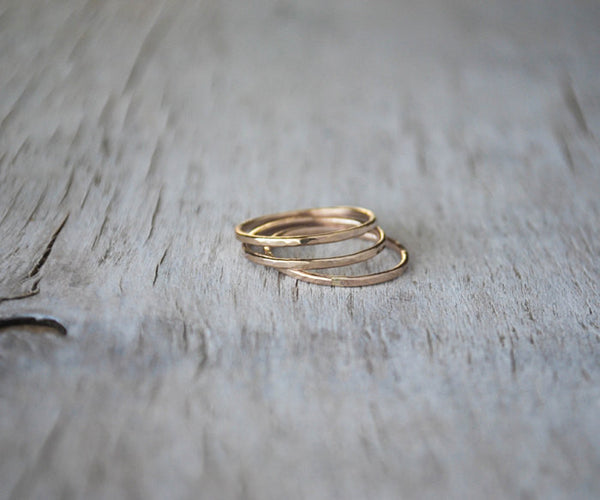 Gold Filled Stack Ring Set - Handcrafted - Prairie Coast Art