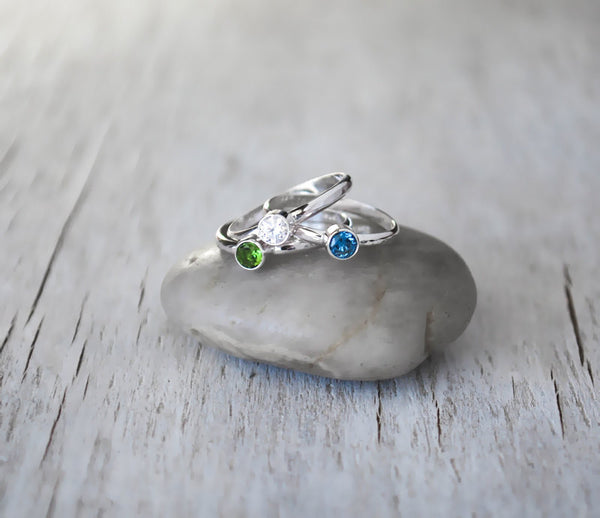 Set of 3 Birthstone Stacking Rings, Sterling Silver Birthstone Ring Set - Choose a Birthstone - Prairie Coast Art