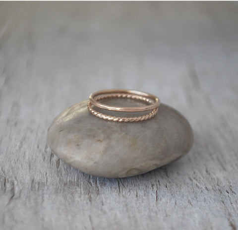 Gold Filled Stack Rings, Set of 2 - Handcrafted - Prairie Coast Art