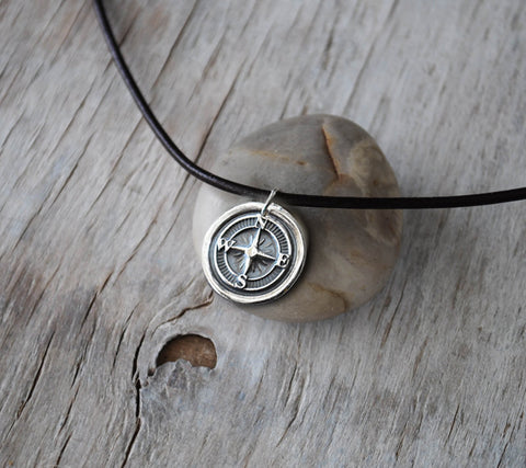 Silver Wax Seal Compass - Leather Cord - Unisex Eco Friendly Silver - Prairie Coast Art