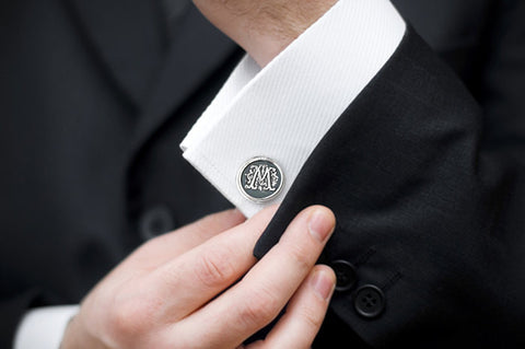 Monogram Cufflinks -  Personalized Sterling Silver Initial Cuff Links - Prairie Coast Art