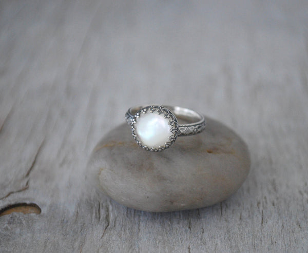 Mother of Pearl Ring in Sterling Silver - Handcrafted - Prairie Coast Art