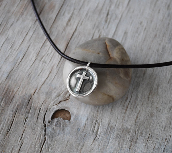 Wax Seal Silver Cross - Leather Cord -  Eco Friendly Silver - Prairie Coast Art