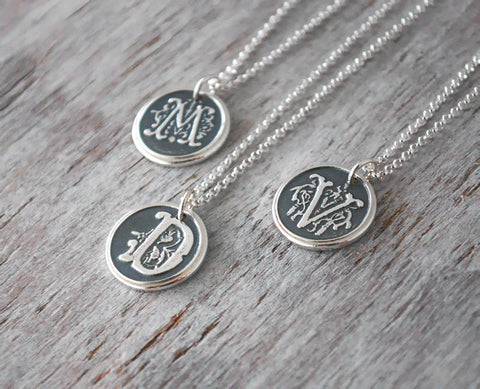 Personalized Wax Seal Ornate Custom Initial Charm with Sterling Silver Chain - Prairie Coast Art
