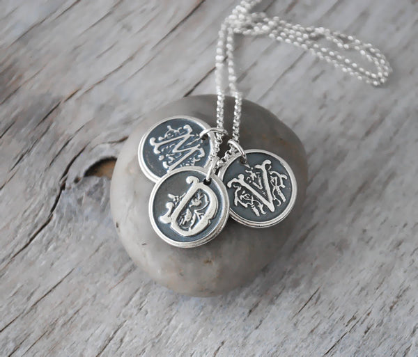 Wax Seal Custom Initials - Ornate Custom Personalized Initial Necklace - Sterling Silver - Prairie Coast Art